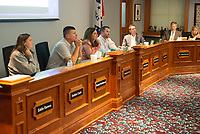 The Springdale School Board listens Tuesday Sept. 14, 2021 to public comments regarding the district's mask policy for students. Visit nwaonline.com/210000915Daily/  (NWA Democrat-Gazette/J.T. Wampler)