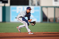 Fort Myers Miracle shortstop Royce Lewis (4) fields a ground ball during a game against the Lakeland Flying Tigers on August 7, 2018 at Publix Field at Joker Marchant Stadium in Lakeland, Florida.  Fort Myers defeated Lakeland 5-0.  (Mike Janes/Four Seam Images)