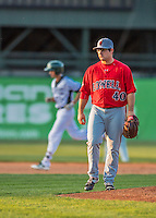 4 September 2016: Lowell Spinners starting pitcher Dakota Smith walks back to the mound after serving up a solo home run to Luke Persico of the Vermont Lake Monsters at Centennial Field in Burlington, Vermont. The Spinners defeated the Lake Monsters 8-3 in NY Penn League action. Mandatory Credit: Ed Wolfstein Photo *** RAW (NEF) Image File Available ***