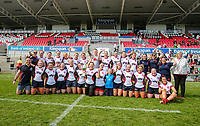 Saturday 20th April 2019 | 2019 Ulster Women's Junior Cup Final<br /> <br /> Malone Women's captains Eimear Hagan and Jenna Stewart celebrate with their team after they defeated City Of Derry 29-17 in the final at Kingspan Stadium, Ravenhill Park, on Easter Saturday. Photo John Dickson/Dicksondigital