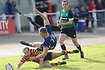 Quins captain Lee Williams forces Leinster centre Steve Crosbie into touch.<br /> British & Irish Cup<br /> Carmarthen Quins v Leinster A<br /> Carmarthen Park<br /> 25.10.14<br /> ©Steve Pope-SPORTINGWALES