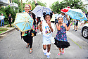 Members of the Baby Doll Sisterhood second line in memory of Baby Doll Tee Eva Perry, who died at 83 on June 7, in New Orleans, La. Monday, June 11, 2018.  Alana Harris, JaÕNiya 'G-Baby Doll' Dabney and Pink Harris