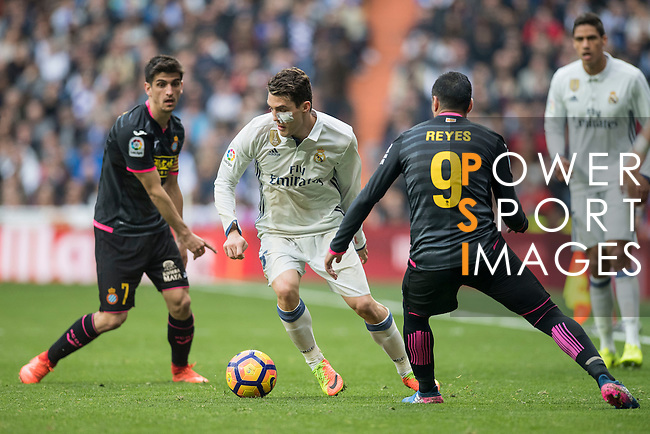 Mateo Kovacic of Real Madrid fights for the ball with Jose Antonio Reyes Calderon of RCD Espanyol  Real Madrid vs RCD Espanyol, a La Liga match at the Santiago Bernabeu Stadium on 18 February 2017 in Madrid, Spain. Photo by Diego Gonzalez Souto / Power Sport Images