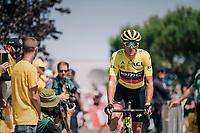yellow jersey / GC leader Greg Van Avermaet (BEL/BMC) on his way to sign-on<br /> <br /> Stage 4: La Baule > Sarzeau (192km)<br /> <br /> 105th Tour de France 2018<br /> ©kramon