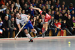Mannheim, Germany, January 24: During the 1. Bundesliga Herren Hallensaison 2014/15 quarter-final hockey match between Mannheimer HC (white) and Club an der Alster (red) on January 24, 2015 at Irma-Roechling-Halle in Mannheim, Germany. Final score 2-3 (1-2). (Photo by Dirk Markgraf / www.265-images.com) *** Local caption *** Niklas Meinert #33 of Mannheimer HC, Danny Nguyen #21 of Club an der Alster