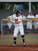 Braden River Pirates first baseman Trenton Hedgepeth (10) bats during a game against the Venice Indians on February 25, 2021 at Braden River High School in Bradenton, Florida. (Mike Janes/Four Seam Images)