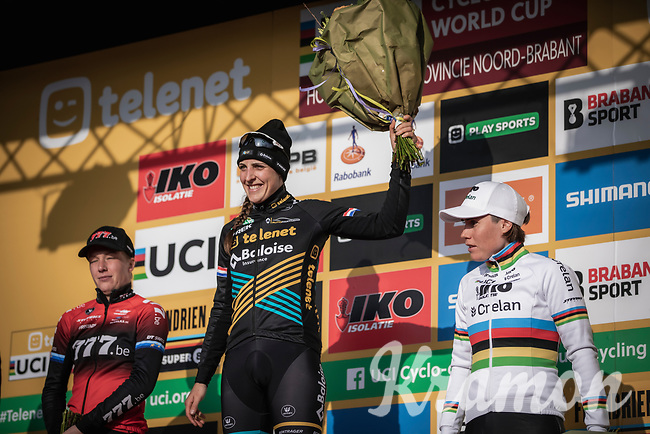 podium race:<br /> <br /> 1st place - Lucinda Brand (NED/Telenet Baloise Lions),<br /> 2nd place - Annemarie Worst (NED/777)<br /> 3th place - Sanne Cant (BEL/Iko-crelan), <br /> <br /> <br /> Elite Womens Race <br /> UCI Cyclocross Worldcup – Hoogerheide (Netherlands)<br /> ©kramon