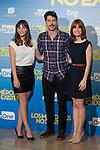 (L-R) Actors Andrea Duro, Eduardo Noriega and Alexandra Jimenez pose during `Los miércoles no existen´ film presentation in Madrid, Spain. October 14, 2015. (ALTERPHOTOS/Victor Blanco)
