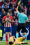 Sime Vrsaljko of Atletico de Madrid reacts as referee Ricardo de Burgos Bengoechea shows him the yellow card during the La Liga 2017-18 match between Atletico de Madrid and Girona FC at Wanda Metropolitano on 20 January 2018 in Madrid, Spain. Photo by Diego Gonzalez / Power Sport Images