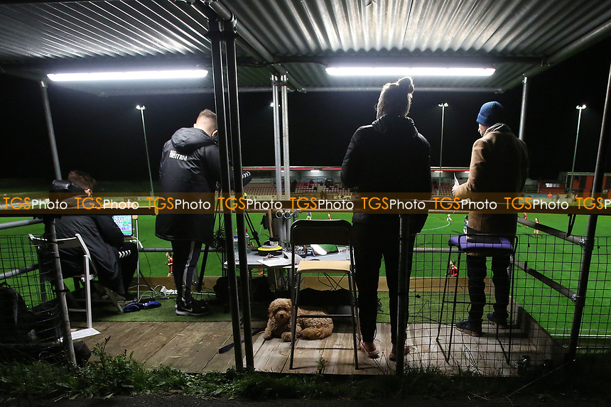 Lewes commentary team aided by a furry friend during Lewes Women vs Bristol City Women, FA Women's Continental League Cup Football at The Dripping Pan on 18th November 2020