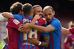 FC Barcelona's Sergi Roberto, Jordi Alba, Memphis Depay and Martin Braithwaite celebrate goal during La Liga match. August 29, 2021. (ALTERPHOTOS/Acero)