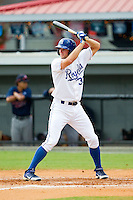 Sam Bates (33) of the Burlington Royals at bat against the Elizabethton Twins at Burlington Athletic Park on August 11, 2013 in Burlington, North Carolina.  The Twins defeated the Royals 12-5.  (Brian Westerholt/Four Seam Images)