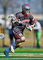 17 March 2012: Sacred Heart University Pioneer Midfielder Stephen Kontos, a Junior from Danvers, MA, in action against the University of Vermont Catamounts at Virtue Field in Burlington, Vermont. The visiting Pioneers rallied to tie the score at 11 with five unanswered goals, dominating the 4th period. However the Cats scored with only 10 seconds remaining in the game to defeat the Pioneers 12-11 in their non-conference matchup. Mandatory Credit: Ed Wolfstein Photo
