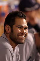 Tampa Bay Rays designated hitter Johnny Damon #22 during a game against the Los Angeles Angels at Angel Stadium on June 18, 2011 in Anaheim,California. (Larry Goren/Four Seam Images)