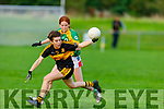 Crokes Kate Stack holds on to the ball as she is well marked by Ava Buckley O'Connell from John Mitchels in the Kerry Ladies Junior Football Championship