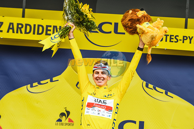 Race leader Tadej Pogacar (SLO) UAE Team Emirates wins  Stage 18 and retains the Yellow Jersey of the 2021 Tour de France, running 129.7km from Pau to Luz Ardiden, France. 15th July 2021.  <br /> Picture: A.S.O./Charly Lopez | Cyclefile<br /> <br /> All photos usage must carry mandatory copyright credit (© Cyclefile | A.S.O./Charly Lopez)