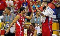Serbia's Miroslav Raduljica (R) congratulate to Milos Teodosic (L) during European championship group B basketball match between Turkey and Serbia on 09. September 2015 in Berlin, Germany  (credit image & photo: Pedja Milosavljevic / STARSPORT)
