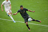LOS ANGELES, CA - MARCH 01: Eddie Segura #4 of of the LAFC clears a ball during a game between Inter Miami CF and Los Angeles FC at Banc of California Stadium on March 01, 2020 in Los Angeles, California.