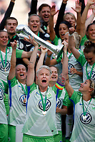 Football, Koeln, Germany , DFB-Pokalfinale wifeen,, <br />VFL Wolfsburg (WOB ) vs. FC Bayern M Muenchen 3-2 n.E.  Rhein-Energie stadium  in Koeln19. 05. 2018<br />Nilla FISCHER (VFL) - and Pokal  *** Local Caption *** © pixathlon<br /> Contact: +49-40-22 63 02 60 , info@pixathlon.de