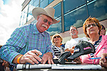 September 20, 2014: California Chrome part owner Steve Coburn stops to sign autographs and take photos with fans on Pennsylvania Derby Day at Parx Casino and Racing in Bensalem, Pennsylvania. Scott Serio/ESW/CSM
