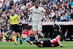 Real Madrid's Karim Benzema and Athletic Club de Bilbao's Inigo Martinez during La Liga match between Real Madrid and Athletic Club de Bilbao at Santiago Bernabeu Stadium in Madrid, Spain. April 21, 2019. (ALTERPHOTOS/A. Perez Meca)