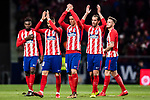 Players of Atletico de Madrid celebrates their game victory after the La Liga 2017-18 match between Atletico de Madrid and Real Sociedad at Wanda Metropolitano on December 02 2017 in Madrid, Spain. Photo by Diego Gonzalez / Power Sport Images