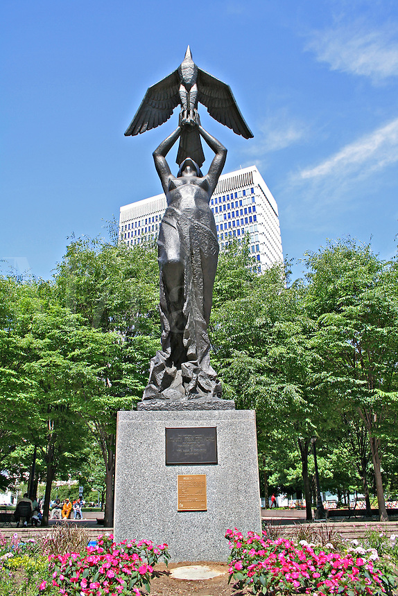 Atlanta from The Ashes sculpture in Woodruff Park downtown Atlanta Georgia