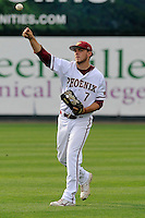Infielder Casey Jones (7) of the Elon Phoenix in a game against the Furman Paladins in a first-round Southern Conference playoffs game on Wednesday, May 22, 2013, at Fluor Field at the West End in Greenville, South Carolina. Furman won, 10-1. (Tom Priddy/Four Seam Images)