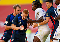 GUADALAJARA, MEXICO - MARCH 28: Justen Glad #4 of the United States during a game between Honduras and USMNT U-23 at Estadio Jalisco on March 28, 2021 in Guadalajara, Mexico.