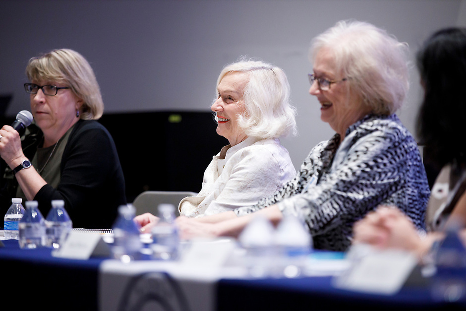 USA International Harp Competition Founder and Artistic Director Susann McDonald smiles during the panel discussion at the 11th USA International Harp Competition at Indiana University in Bloomington, Indiana on Friday, July 12, 2019. (Photo by James Brosher)