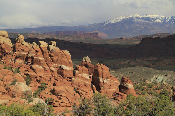 Fiery Furnace rock formations and the La Sal Mountains  in Arches National Park, Utah, USA. .  John offers private photo tours in Arches National Park and throughout Utah and Colorado. Year-round.