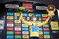 new yellow jersey / GC leader Alexey Lutsenko (KAZ/Astana - Premier Tech)<br /> <br /> 73rd Critérium du Dauphiné 2021 (2.UWT)<br /> Stage 6 from Loriol-sur-Drome to Le Sappey-en-Chartreuse (167km)<br /> <br /> ©kramon