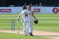 Robbie White of Middlesex congratulates Sam Robson after scoring a double century during Sussex CCC vs Middlesex CCC, LV Insurance County Championship Division 3 Cricket at The 1st Central County Ground on 7th September 2021