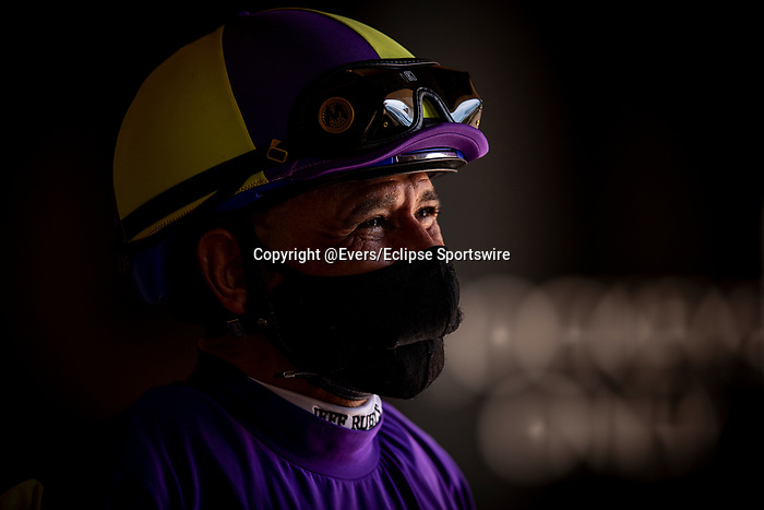 AUG 22: Mike Smith reacts after Honor AP's workout at Del Mar racecourse in Del Mar, California on August 22, 2020. Evers/Eclipse Sportswire/CSM