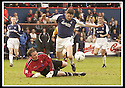 26/04/2003                   Copyright Pic : James Stewart.File Name : stewart-falkirk v ayr 08.CRAIG NELSON BRINGS DOWN STUART TAYLOR FOR FALKIRK'S PENALTY.......James Stewart Photo Agency, 19 Carronlea Drive, Falkirk. FK2 8DN      Vat Reg No. 607 6932 25.Office     : +44 (0)1324 570906     .Mobile  : +44 (0)7721 416997.Fax         :  +44 (0)1324 570906.E-mail  :  jim@jspa.co.uk.If you require further information then contact Jim Stewart on any of the numbers above.........