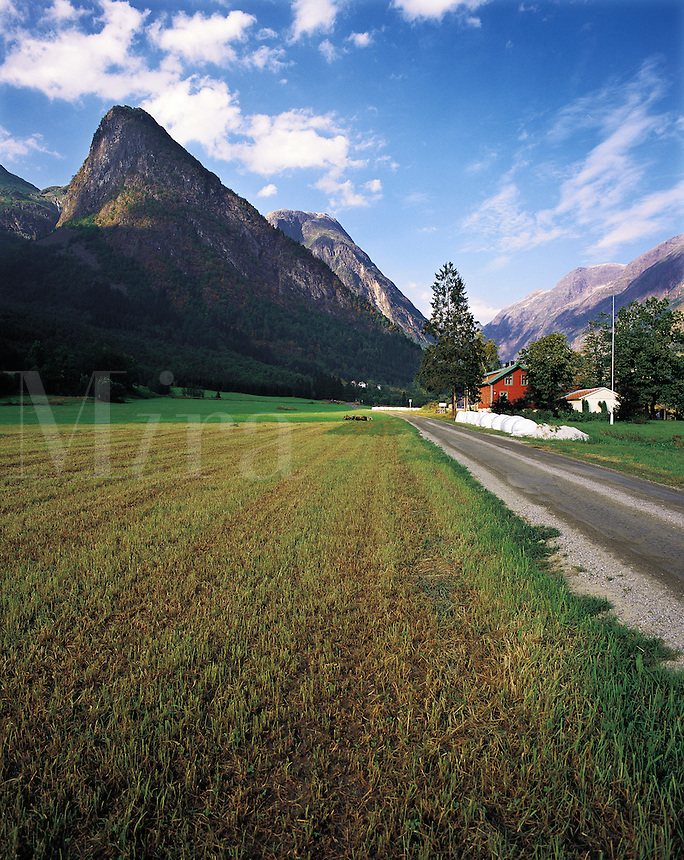 A green and fertile valley enclosed within the rocky peaks of Fjaerland, Norwa
