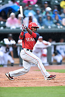 Northern Division right fielder Daniel Johnson (7) of the Hagerstown Sun swings at a pitch during the South Atlantic League All Star Game at Spirit Communications Park on June 20, 2017 in Columbia, South Carolina. The game ended in a tie 3-3 after seven innings. (Tony Farlow/Four Seam Images)