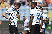 Edin Dzeko and Denzel Dumfries of FC Internazionale during the Serie A football match between UC Sampdoria and FC Internazionale at stadio Marassi in Genova (Italy), September 12th, 2021. Photo Image Sport / Insidefoto