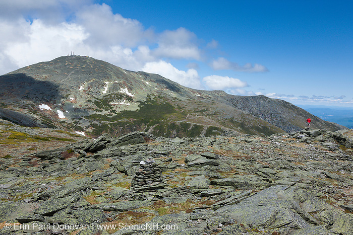 Mount Washington from the summit of Boott Spur Mountain in Sargent's Purchase in the New Hampshire White Mountains on a cloudy summer day; this area is part of the Presidential Range.