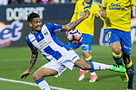 Luciano Neves of Club Deportivo Leganes competes for the ball with Pedro Bigas of UD Las Palmas during the match of La Liga between Deportivo Leganes and Union Deportiva Las Palmas  Butarque Stadium  in Madrid, Spain. April 25, 2017. (ALTERPHOTOS/Rodrigo Jimenez)