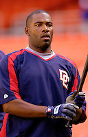 16 June 2006: Marlon Anderson, infielder for the Washington Nationals, awaits his turn in the batting cage prior to a game against the New York Yankees at RFK Stadium, in Washington, DC. The Yankees defeated the Nationals 7-5 in the first meeting of the two franchises...Mandatory Photo Credit: Ed Wolfstein Photo...