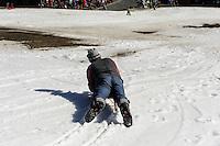 Rodelbauer Dietmar Martin mit Schlitten in Sonthofen-Tiefenbach im Allgäu, Bayern, Deutschland<br /> sledge maker Dietmar Martin with sledge  in Sonthofen-Tiefenbach , Allgäu, Bavaria, Germany