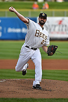 Matt Shoemaker (27) of the Salt Lake Bees in action against the Albuquerque Isotopes at Smith's Ballpark on April 21, 2014 in Salt Lake City, Utah.  (Stephen Smith/Four Seam Images)
