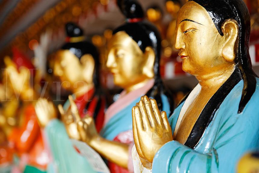 Praying figurines in main hall of the Ten Thousand Buddhas temple, Sha Tin, New Territories, Hong Kong SAR, People's Repbulic of China, Asia