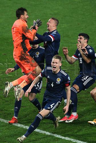 12th November 2020; Belgrade, Serbia; European International Football Playfoff Final, Serbia versus Scotland;  Scotland players celebrate victory after the penalty shootout with David Marshall, Oliver McBurnie, Callum Peterson, Scott McTominay