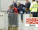 21/04/2007       Copyright Pic: James Stewart.File Name : sct_jspa25_gretna_v_clyde.BROOKS MILESON JUMPS THE PERIMETER WALL AT THE END OF THE GAME....James Stewart Photo Agency 19 Carronlea Drive, Falkirk. FK2 8DN      Vat Reg No. 607 6932 25.Office     : +44 (0)1324 570906     .Mobile   : +44 (0)7721 416997.Fax         : +44 (0)1324 570906.E-mail  :  jim@jspa.co.uk.If you require further information then contact Jim Stewart on any of the numbers above.........