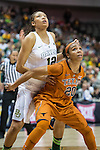 guard Brianna Taylor (20) blocks out guard Alexis Prince (12) during Big 12 women's basketball championship final, Sunday, March 08, 2015 in Dallas, Tex. (Dan Wozniak/TFV Media via AP Images)