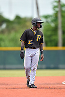 FCL Pirates Black shortstop Luis Tejeda (35) leads off second base during a game against the FCL Pirates Gold on July 2, 2021 at Pirate City in Bradenton, Florida.  (Mike Janes/Four Seam Images)