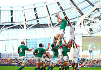 01.03.2015.  Dublin, Ireland. 6 Nations International Rubgy Championship. Ireland versus England.<br /> Devin Toner (Ireland) robs the ball ahead of James Haskell (England).