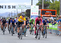 Jensen Plowright (Australia/Team BridgeLane, yellow jersey) wins stage three of the NZ Cycle Classic UCI Oceania Tour (Martinborough circuit) in Wairarapa, New Zealand on Friday, 17 January 2020. Photo: Dave Lintott / lintottphoto.co.nz